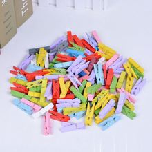 50 PCS Clips 25mm 35mm Mini Wooden Clothes Photo Paper Peg Pin Clothespin Craft Clip Mixed color