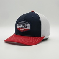 Custom Embroidery Patch Fish Logo Trucker Caps,Red Brim Navy Trucker Hats,6 Panel Two Tone Mesh Snapback