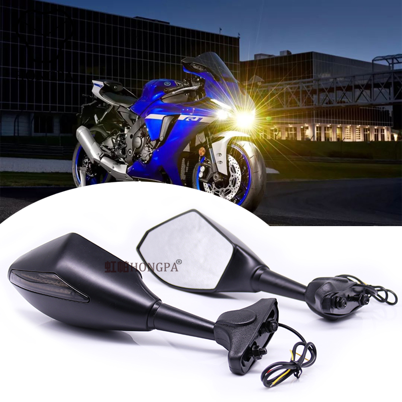Motorcycle LED Signal Rearview Mirrors for KAWASAKI NINJA 6R 9R 650R 250R 636 YAMAHA YZF R1 R6 R6S SUZUKI GSXR 600K 5 750 <strong>1000</strong>