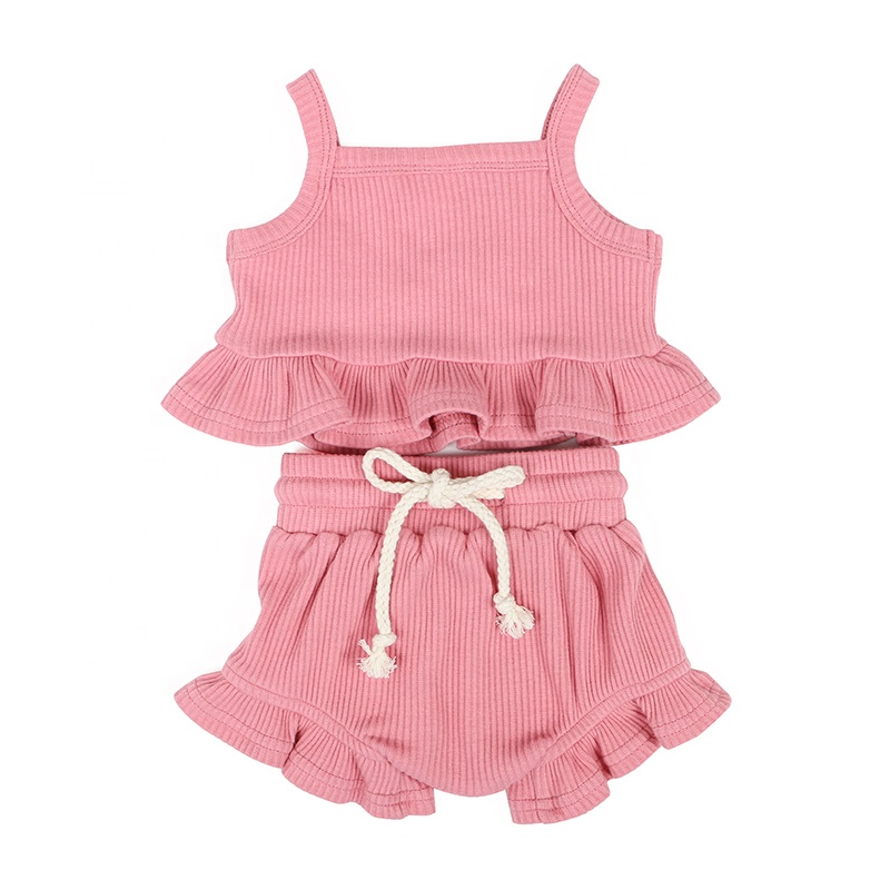 Kids clothing children clothes summer solid pink girl top draw string shortie cotton rib sets