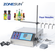 ZONESUN 4 <strong>Nozzles</strong> Liquid Perfume Water Juice Essential Oil Electric Digital Control Pump Liquid Filling Machine Supply