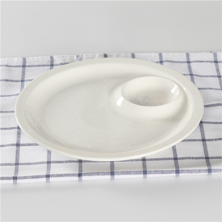 Western fancy 10 inch ceramic dish plates white color  round plate for catering