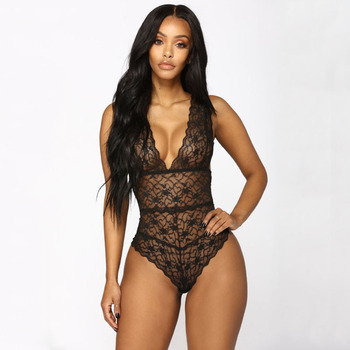 Fashion Sexy Women Transparent Lace Bodysuit Erotic Sleeveless Lingeries