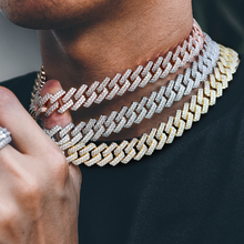 KRKC&CO Hip Hop Jewelry 12MM White Gold Plated Iced Out Cuban Link CZ Prong Cuban Link Chain Necklace Diamond Cuban Chain