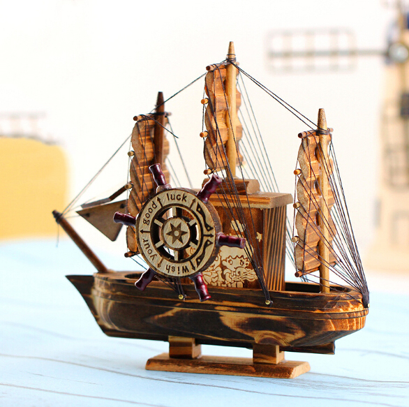 Wholesale Chinese Feng Shui Decoration Wooden Craft Boat