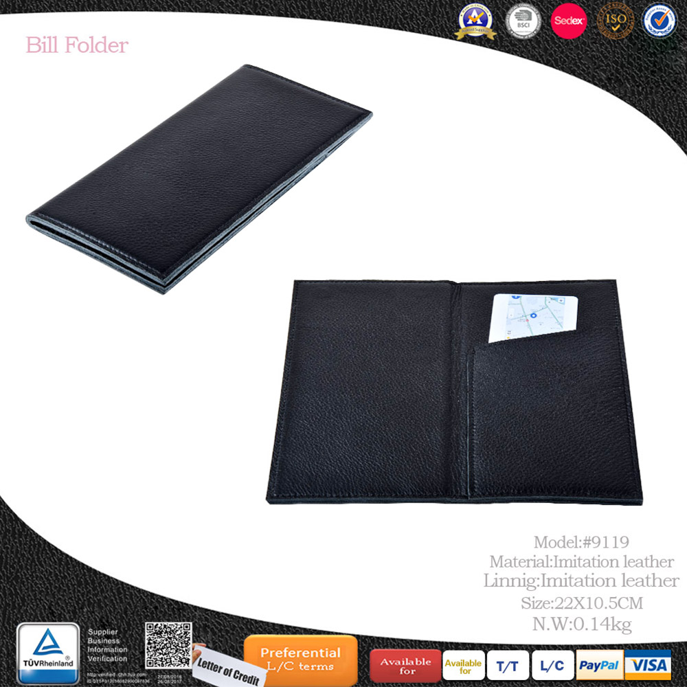China OEM ODM suppliers best price custom logo hotel restaurant leather bill folder