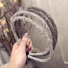 fashion diamond super <strong>flash</strong> doubl layer thin headband wholesale crystal rhinestone headband accessories women