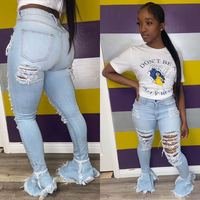 FM-D8354 Custom New Fashion Women Demin Jeans Flare Ripped Comfy Stretch Skinny Jeans Women
