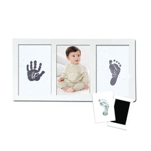 Newborn baby handprint and footprint kit wood baby photo frame