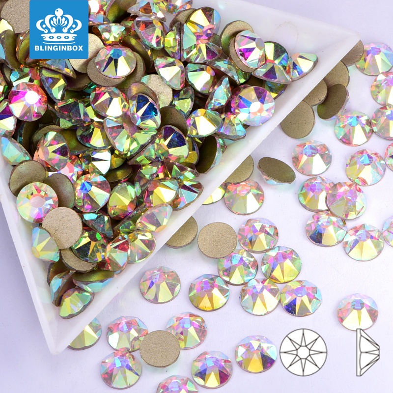 Clear Crystal White / Crystal AB 16 Cut Facets Flatback Nail Non Hotfix Rhinestones