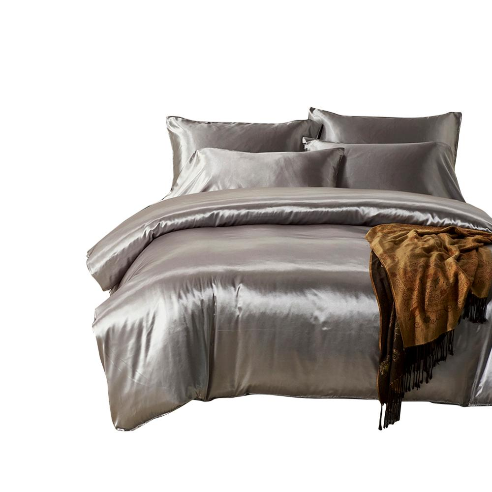 hotel solid color imitated Silk luxury satin comforter bedding <strong>set</strong> 3pcs