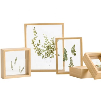 High quality custom 4x6 natural wood double glass sided floating glass frames