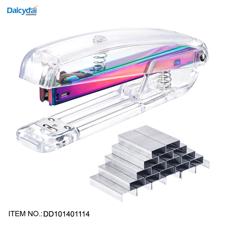 Well made hand press office plastic modern stapler fashion clear rose gold stapler