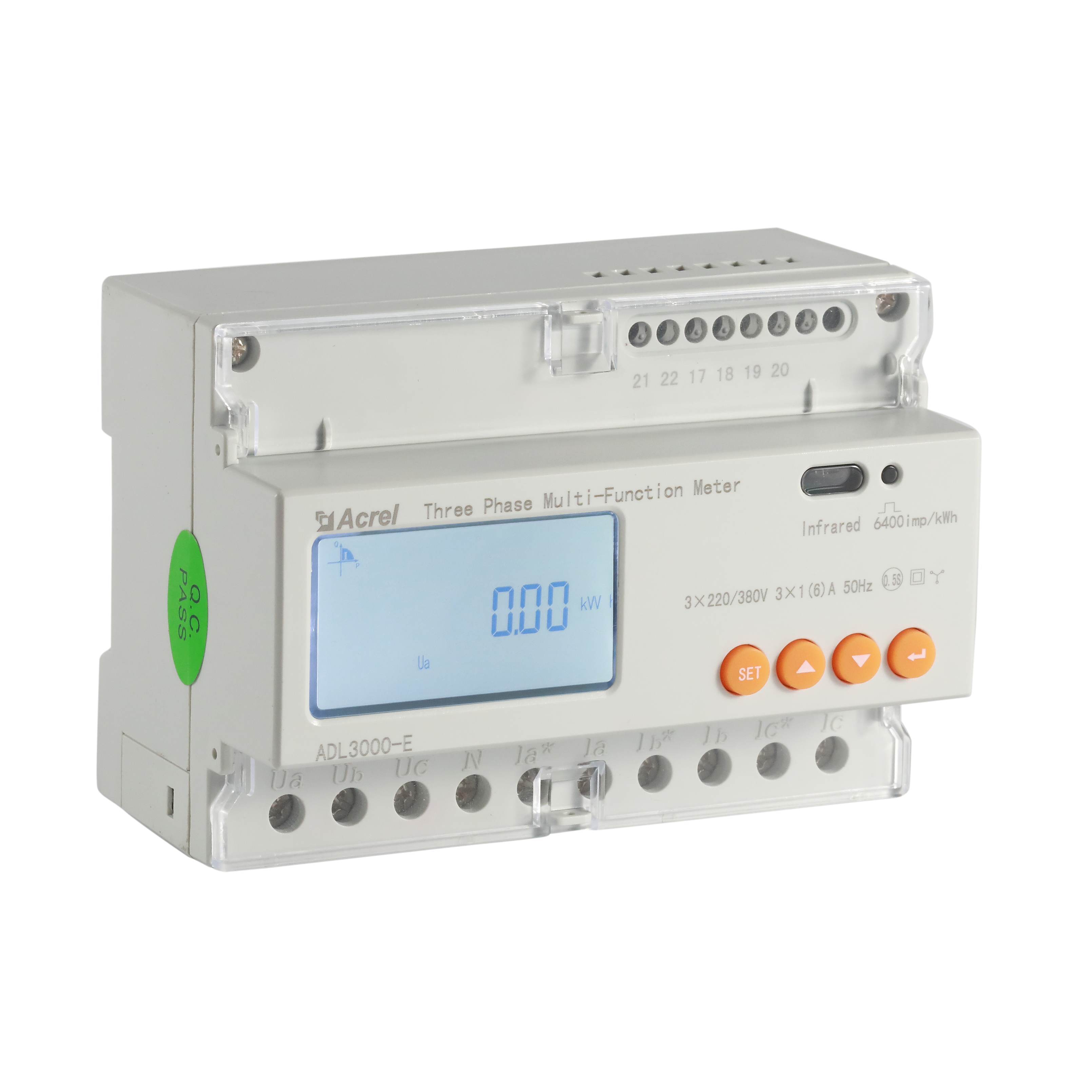 Acrel 300286.SZ 7 module din rail 3 phase KWH energy meter modbus rtu ADL3000-E/<strong>C</strong> for solar PV power system