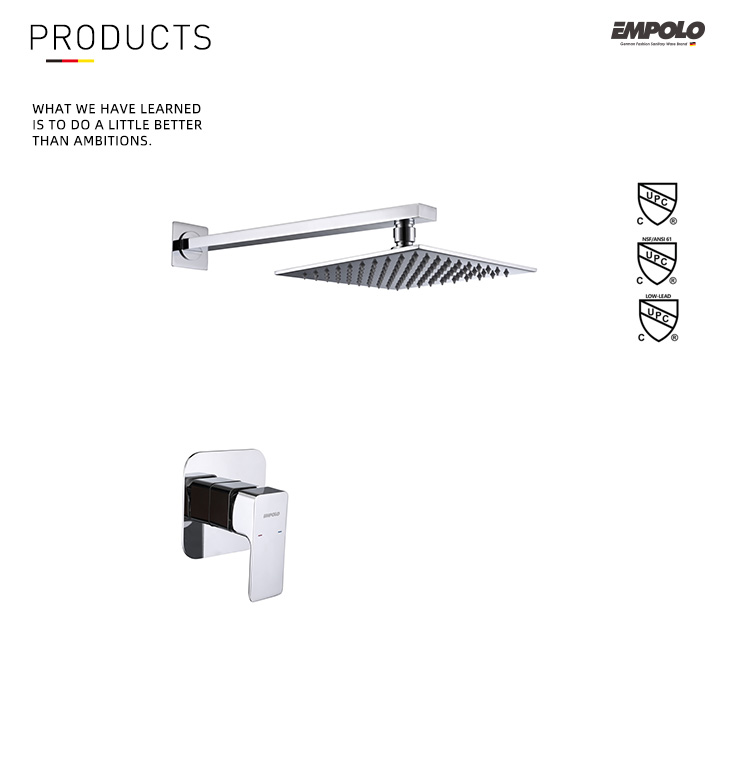 Bathroom Concealed Square Brass Rain Shower Mixer