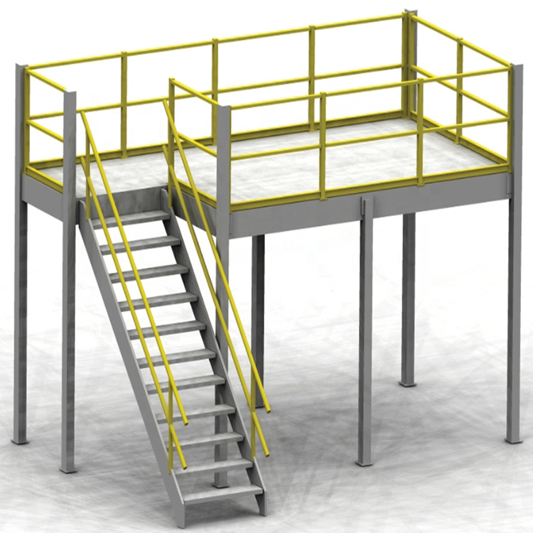 Staircase mezzanine storage rack for heavy duty warehouse storage racking