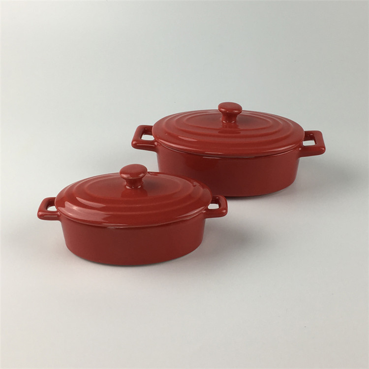 Wholesale price solid color 250ml mini casserole pots ceramic casserole set for french soup