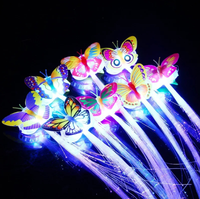 Birthday Favor Butterfly LED Fiber Optical Flashing Hair Clip for Girl