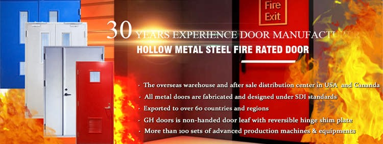 WH listed180 minutes steel fire rated hollow metal door entry door