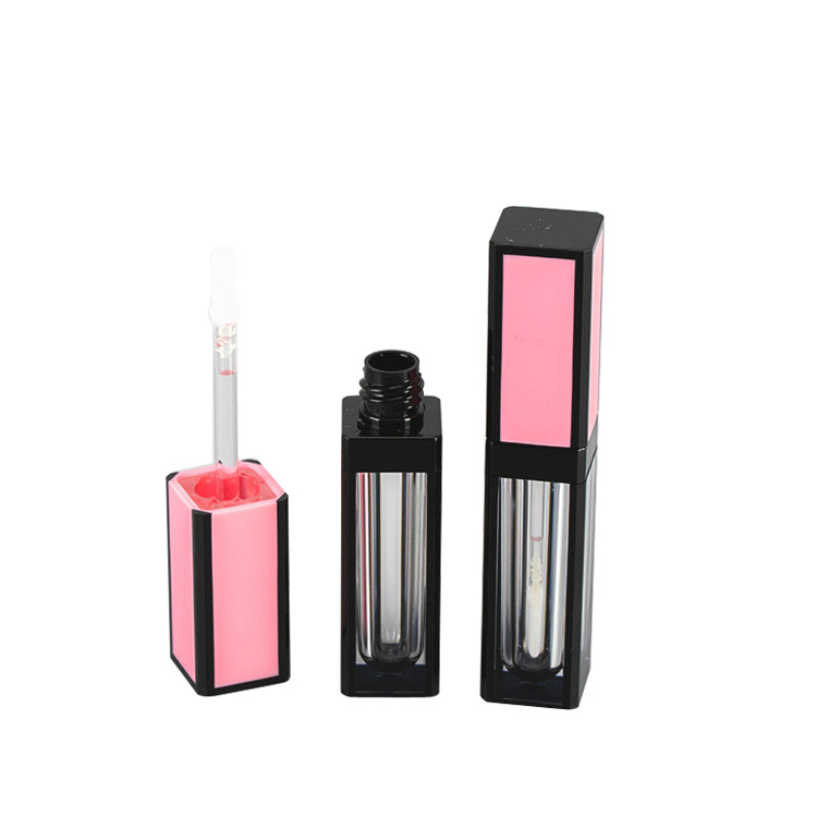 Custom plastic empty square lipgloss <strong>tubes</strong> pink lip gloss container clear wands for beauty