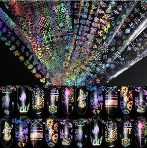 4*100cm/Roll Holographic Nail Foil Flame Dandelion Panda Bamboo Holo Nail Art Transfer Sticker Water Slide Nail Art Decals