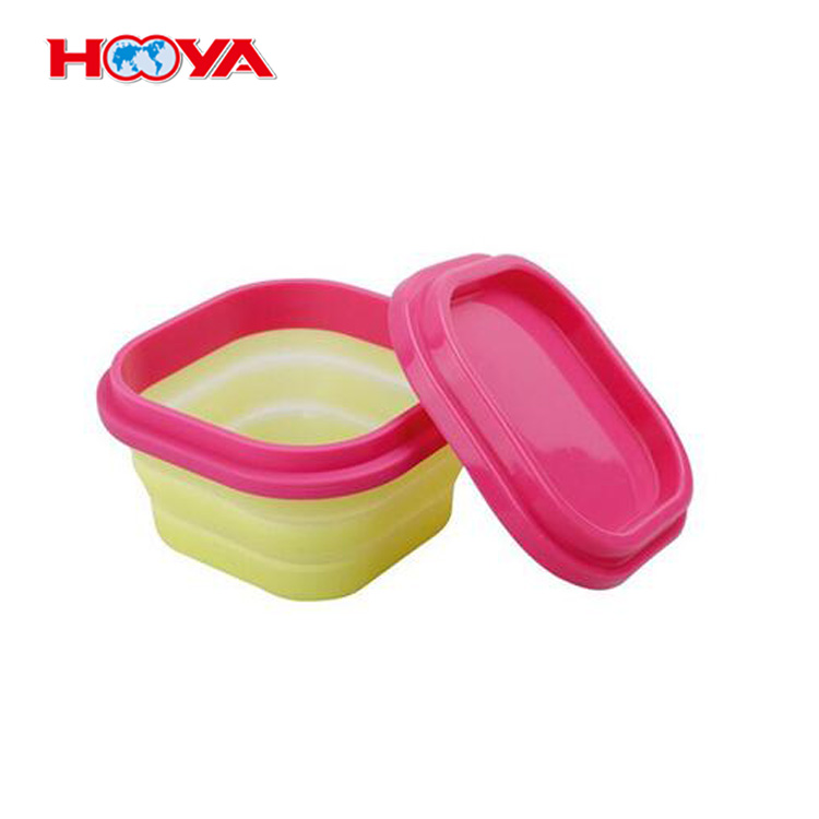 Hot Selling Food Grade Leakproof Silicone Folding Lunch Box Food Storage Container