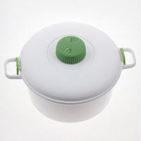 2.8L Plastic Microwave Pressure Cooker Tool With Measuring Cup Spoon For Meat Rice Chicken Pasta Beans Stews Vegetables
