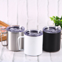 Double Wall Vacuum Coffee Mug with Sealed Slide lid Stainless Steel Tumbler Cups Insulted Wine Cup Handle