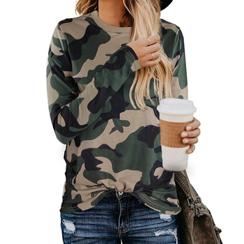 Womens Casual Loose Fit Long Sleeve Camo T-shirt Army Military Camouflage Uniform