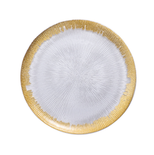 Wholesale Clear Glass Dinner Charger <strong>Plate</strong> With Wide Gold Silver Rim