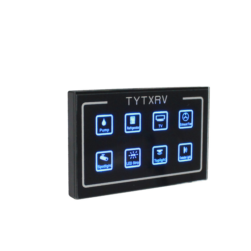 TYTXRV Camper Part 12 VDC 8-Way Touch Screen Control System Caravan Control Panel
