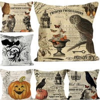 Halloween Decor Sofa Pillow Covers Owl Crow Pumpkin Skull 3D Printed Cushion Cover Vintage Hot Sale Newspaper Linen Pillow Case