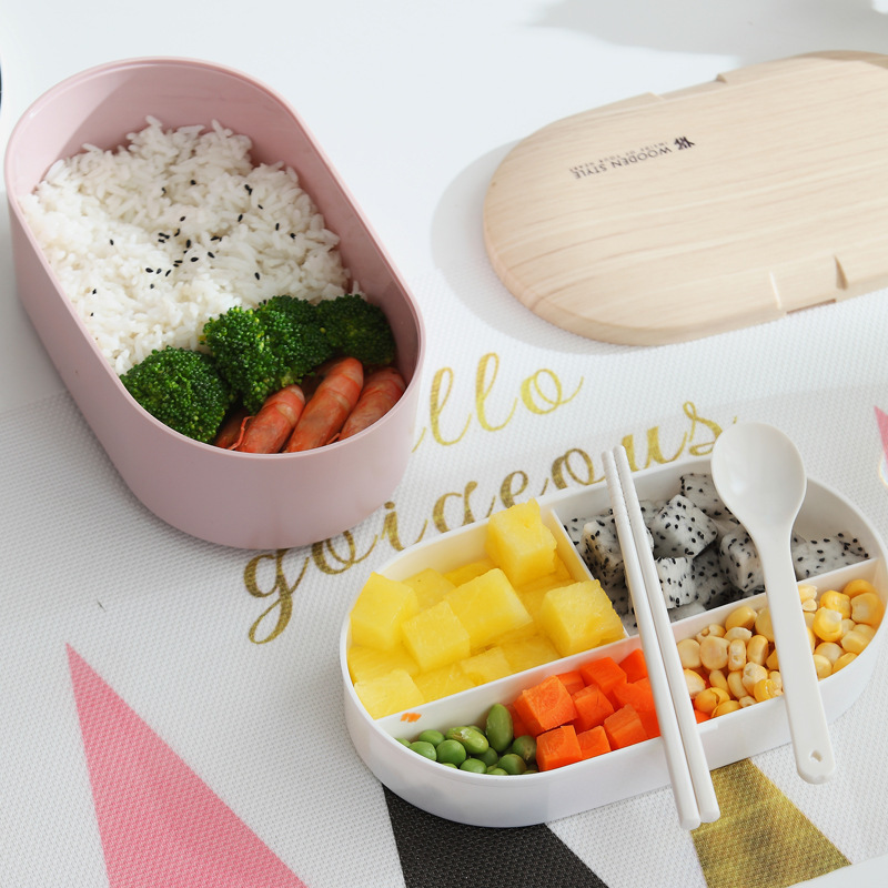 2020 Salin kitchenware two layers lunch box PP with cutlery set