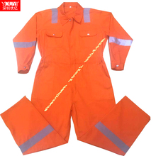 cheap price <strong>orange</strong> color customizable long sleeves 100 cotton safety coverall overall working clothing with 3m reflective tape.