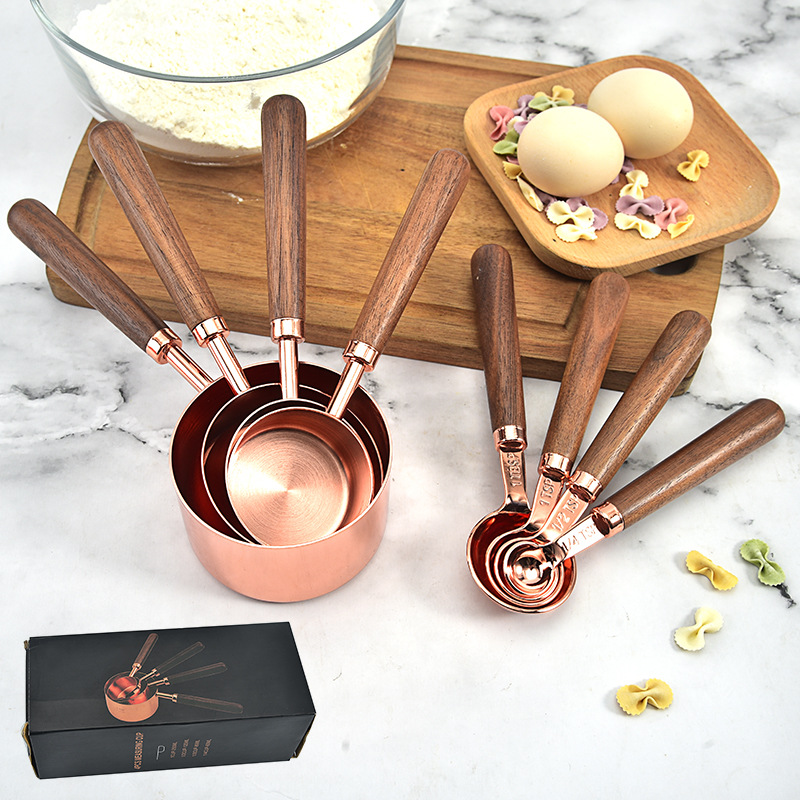 4 pcs Wood Handle Copper Plated Rose Gold Measuring Spoons and Measuring Cups