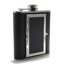 Creative Cigarettes Case 5oz Stainless Steel Hip Flask Whiskey Liquor Bottle Black Leather Home Outdoor <strong>Sport</strong> Leather Hip Flask