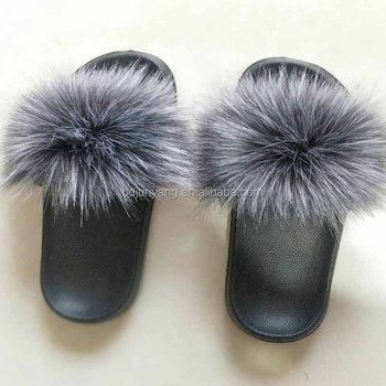 Different colors cheap faux fur sandal furry slippers boots