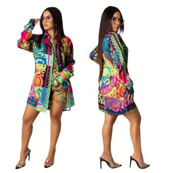 11061NA Fall Colorful Pattern Print Shirt Dress Latest Casual Designs Ladies Fashion Hot Sale Dress Fashion Boutique Clothing