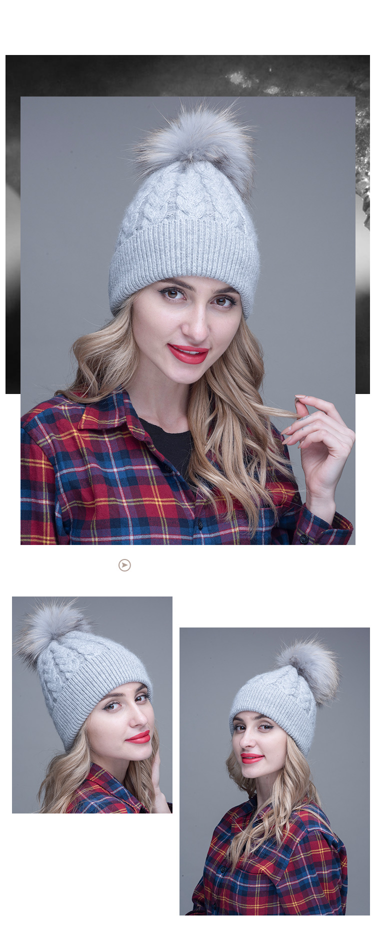 Fashion High-end Customized Pure Rabbit Flannel Twisted Braided Hat