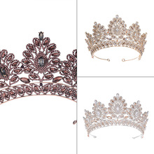 Wedding headdress jewelry alloy rhinestone and zircon bride <strong>crown</strong> tiaras headband wholesale