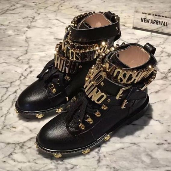2019 Factory Direct classic black genuine leather swat working boots women high <strong>heels</strong> cool punk gold letters metal lace trims