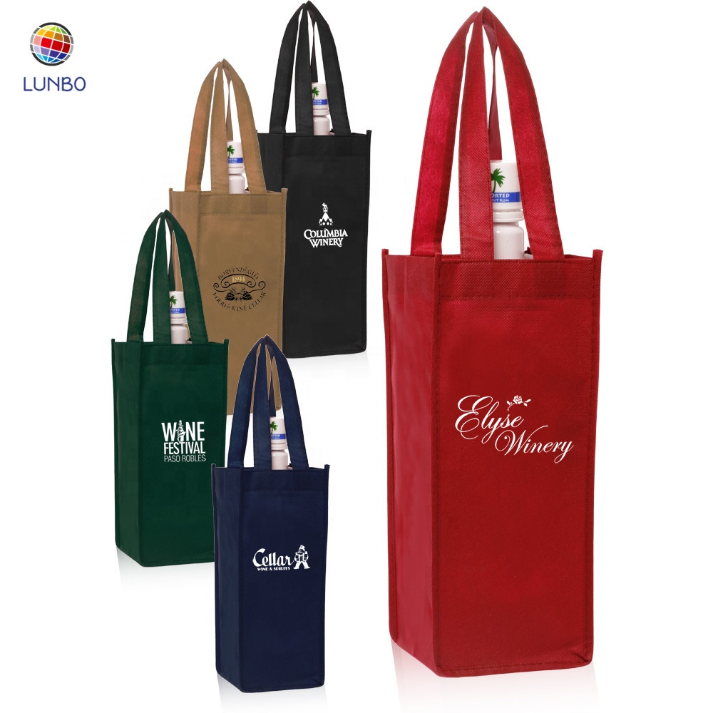 Custom <strong>logo</strong> <strong>12</strong>*<strong>12</strong>*35cm black non woven wine packing tote bag for 1 bottle