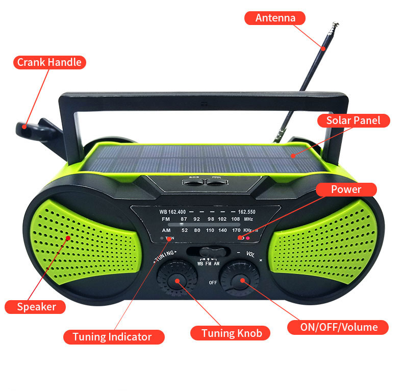 Portable Style Dynamo Charging Waterproof  Radio with FM/AM/NOAA Hand Power Solar Panel for Outdoor Survival