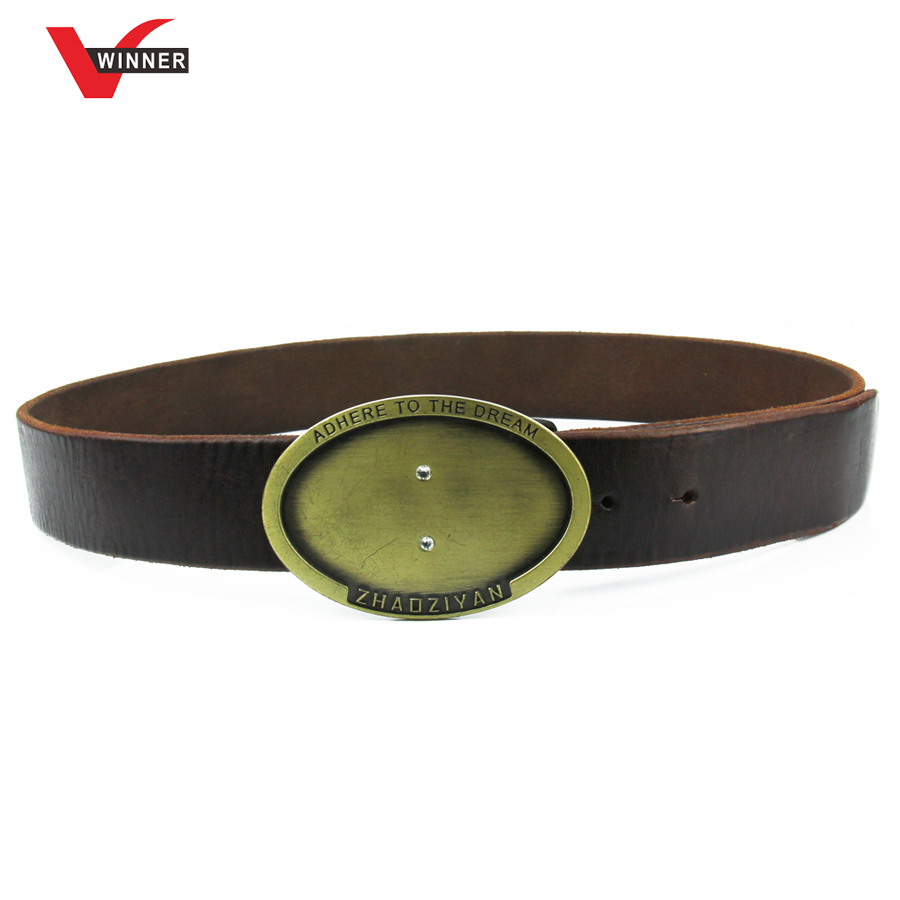 oval metal buckle high quality leather men belt with custom logo