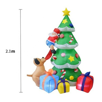 Light christmas gift inflatables with the dog bit Santa Claus and gift box for decoration stocking