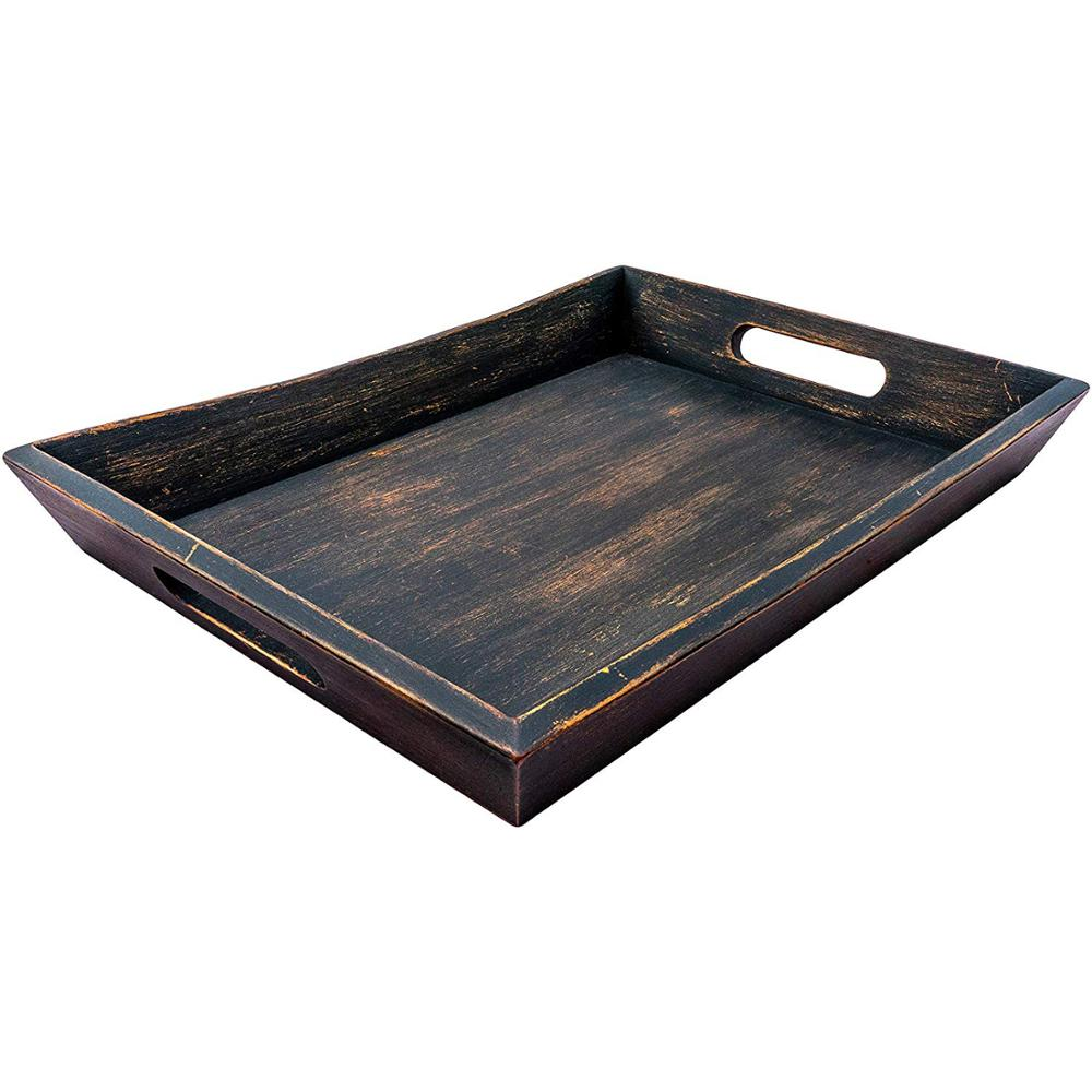 Wooden Tray Coffee Table Ottoman Tray Dark Brown <strong>16</strong> <strong>x</strong> <strong>12</strong> Modern Aesthetic Decorative Serving Tray with Handles for Drinks