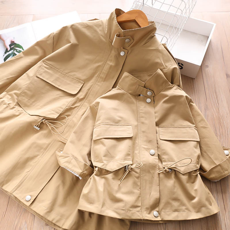 T10389S  Autumn 2 color girl collar card rope Korean windbreaker jacket