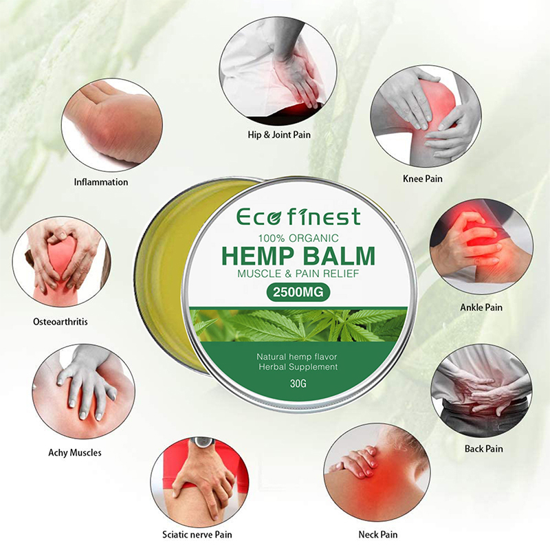 Private Label Pure Organic Seed Oil Extract Natural Body Muscle 2500mg Analgesic Anti-inflammatory Cream Hemp Balm