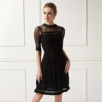 L378 Lady Cocktail Dress Tight Sexy Evening Black Summer Bandage Prom Dress
