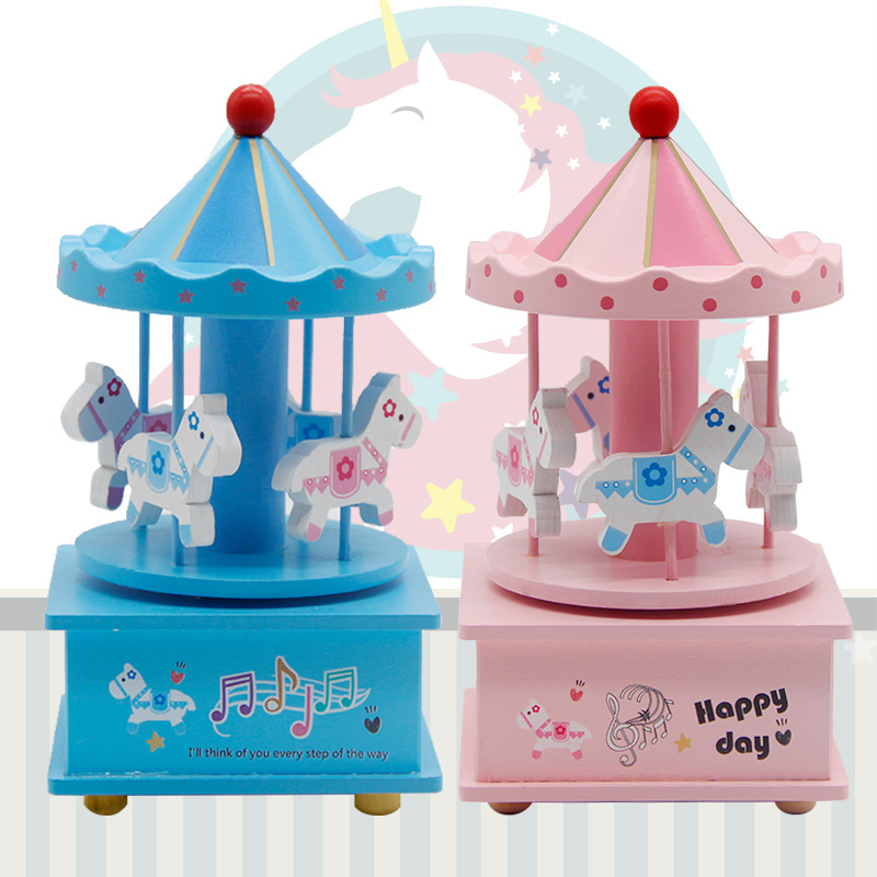 Low Cost Christmas Ornament Gift Pink And Blue Wooden Carousel Music Box For Kid